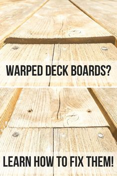 Are your deck boards warped, twisted or cupped? I'll show you how to fix them! home repair deck repair home improvement Home Renovation, Home Remodeling, Kitchen Remodeling, Deck Renovation Ideas, Basement Renovations, Kitchen Sink Interior, Bathroom Interior, Deck Repair, Easy Deck