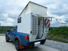 Fibergalss Popup Camper Blue Truck