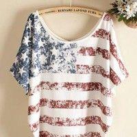 White Vintage Old American Flag Printed Short-sleeve T-shirt