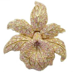 CINER Simulated Pink & White Diamonds Orchid Pin