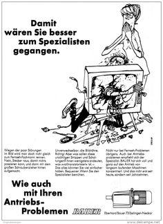 Original-Werbung/ Anzeige 1969 - CARTOON / BAUER ANTRIEBE - ca. 180 x 240 mm