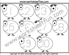 Number Tracing – 1 to 10 – One Worksheet / FREE Printable Worksheets – Worksheetfun Number Worksheets Kindergarten, Letter Tracing Worksheets, Number Tracing, Printable Preschool Worksheets, Numbers Preschool, Tracing Letters, Free Preschool, Preschool Activities, Free Printables