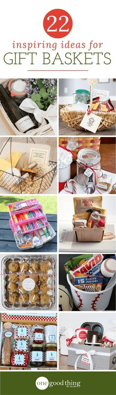 Gift baskets are easy to assemble, and fun to customize! Check out these 22 gift basket ideas that you can easily replicate at home. #giftbaskets