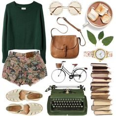 i want to ride my bicycle, i want to ride my biiiike: green pullover sweater, ankle strap shoes, brown purse.