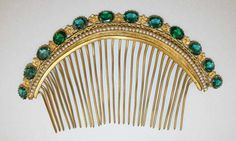 Antique Tiara-Comb, Europe (1880's; gold, emeralds, pearls). www.metmuseum.org.