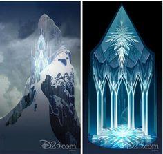 Frozen Concept Art: Elsa's ice palace and chandelier.
