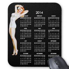 2014 Calendar with Vintage Pin-Up Girl  Perfect for anyone who loves the vintage pin ups! A full 2014 calendar accented with a strawberry blonde vintage pin up girl in a white bathing suit against a black background.
