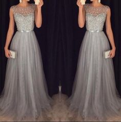 Sparkly Gray A-line Long Prom Dress,Formal Dresses,Party Dress from Formal Dress