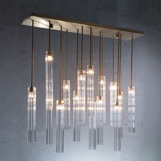 Eden Modern Glass Multi-Tube Glass Pendant from The Vault Modern Dining Room Lighting, Dining Table Lighting, Dining Room Light Fixtures, Linear Lighting, Kitchen Pendant Lighting, Kitchen Pendants, Pendant Light Fixtures, Glass Pendants, Gold Ceiling Light