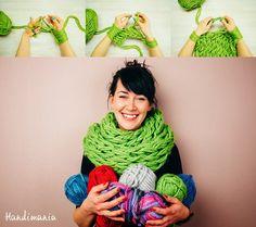 sjaal zonder breinaalden in 30 min // LINDEVROUWSWEB: Arm Knit an Infinity Scarf