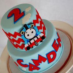 CakeFilley: Modern Thomas the Train Cake Thomas Birthday Cakes, Thomas Birthday Parties, Thomas Cakes, Thomas The Train Birthday Party, Trains Birthday Party, Train Party, Thomas The Train Cakes, Cupcakes, Cupcake Cakes