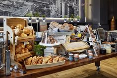 Breakfast at Lindner Hotel & residence Main Plaza in Frankfurt am Main. Crossaints, Bread and Brötchen.
