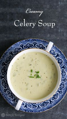 Creamy Celery Soup ~ Classic cream of celery soup with celery, onion, leeks, garlic, stock and a little cream. ~ SimplyRecipes.com