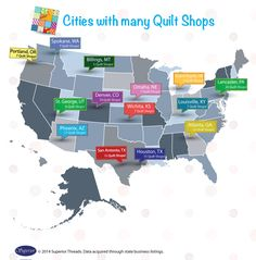 Which cities have the most quilt shops?