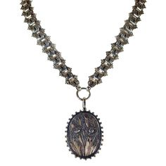 Antique Victorian Collar and Locket with Flowers and Gold Accents from Victoria Sterling Antique Jewelry