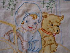 Vintage Tinted Embroidered Crib Sheet Cute Flapper Girl Terrier Dog Roadster   eBay