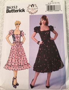 Butterick Sewing Pattern B6352 Misses'/ Misses' Petite Dress & Belt New UNCU
