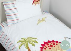 Dinosaurs BedsetDinosaurs Bedset For kids who know their stegosaurus from their brontosaurus, our new bedset features a fabulous Dinosaur landscape bordered and backed with colourful stripes and includes a bordered pillowcase to match. Linen Bedding, Bedding Sets, Dinosaur Bedroom, Beautiful Cover, Childrens Room Decor, Laura Ashley, Dinosaurs, Home Furnishings, Duvet Covers