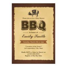 Vintage Baby Shower Pig Roast BBQ Party Invitation