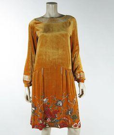 Great French House Of Adair Label Art Deco Beaded Silk Velvet Dress W Bird Motif | eBay