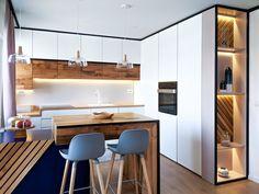 Apartamento minimalista y artístico en Kosovo Cocina minimalista y ar … Kitchen Room Design, Luxury Kitchen Design, Kitchen Cabinet Design, Kitchen Sets, Dining Room Design, Home Decor Kitchen, Kitchen Living, Interior Design Kitchen, Home Kitchens