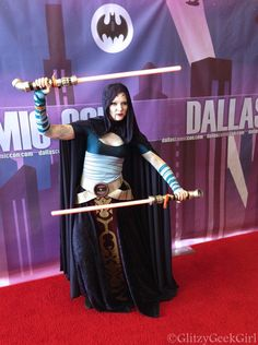 "Sci Fi Expo 2013 in Dallas, Texas - glitzygeekgirl as a Asajj Ventress from the "" Star Wars: The Clone Wars"" TV Show. Haha and look at this Batman's lamp sign... ;P Looks like not Marvel bought SW, but DC. xDDD"
