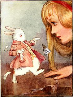 """""""The Rabbit started violently, dropped the white kid gloves and the fan, and scurried away into the darkness as hard as he could go."""" Margaret Tarrant illustration from the book 'Alice in Wonderland' by Lewis Carroll. Lewis Carroll, Alice In Wonderland Vintage, Alice In Wonderland Illustrations, Wonderland Party, Chesire Cat, Arthur Rackham, Adventures In Wonderland, Children's Book Illustration, Book Illustrations"""