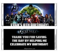 Avengers party invitations and favors