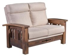 "Amish Tiverton Loveseat Mission style loveseat with thick rich frame. The right fit for a smaller space, measuring 54"" wide. Choice of wood, stain and upholstery."