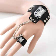 Men's Wild PU Leather Wrist Bracelet+Ring Of Attack on Titan Wings of Liberty