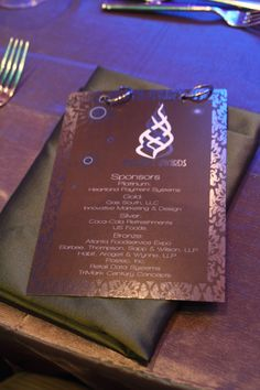 GRACE Awards Gala 2012 @ the Lowes Atlanta Hotel Dinner Menu