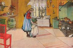 "The famous Carl Larsson painting that I grew up looking at, and an inspiration for my ""Swedish Kitchen"""
