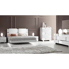 Luca Home White Modern Queen Bedroom Set (White Bedroom Set)