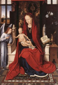 HANS MEMLING (1430 - 1494) |   Virgin Enthroned with Child and Angel. Staatliche Museen, Berlin, Germany.