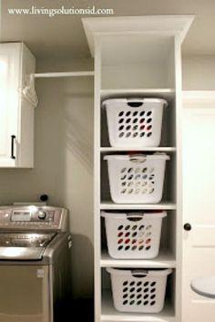 Laundry room shelves for more storage.