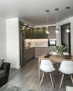 Inspiring Small Apartment Kitchen Design Ideas 2 — Home Design Ideas Modern Kitchen Interiors, Modern Kitchen Design, Interior Design Living Room, Living Room Designs, Modern Kitchens, Small Kitchens, Luxury Kitchens, Room Interior, Small Apartment Interior Design