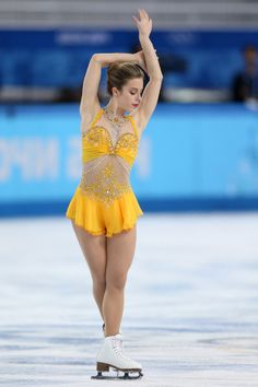 Ashley Wagner Photos - Ashley Wagner of the United States competes in the Figure Skating Ladies' Free Skating on day 13 of the Sochi 2014 Winter Olympics at Iceberg Skating Palace on February 2014 in Sochi, Russia. Ice Dance Dresses, Ice Skating Dresses, Figure Skating Outfits, Figure Skating Costumes, Bollywood Costume, Ashley Wagner, Kim Yuna, Beautiful Figure, Winter Olympics