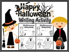 Uppercase and Lowercase Coloring and Tracing in a ghost designed paper with black and white pictures that describes the Halloween. 29 pages of writing practice sheets (Sassoon Font) a - angel b - ballerina c - candy d - devil e - eyeball f - fairy g - grave h - haunted house i - imp j - jack-o-lantern k - king l - labyrinth m - mummy n - night o - owl p - pumpkin q - queen r - robot s - skeleton t - tiara u - unearthly v - vampire w - wizard x - x-ray y - yells z - zombie