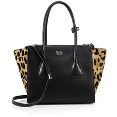 Prada Small Leather & Leopard-Print Calf Hair Twin Pocket Tote (€2.635) ❤ liked on Polyvore featuring bags, handbags, tote bags, apparel & accessories, polka dot tote, polka dot tote bag, leather totes, leopard tote bag and prada tote