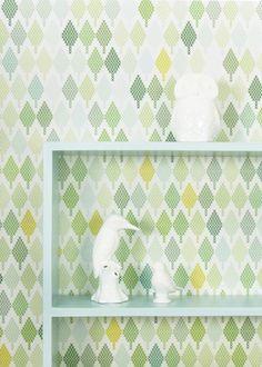 Tiny Tree green - Wallpaper by Maria Bergstrom