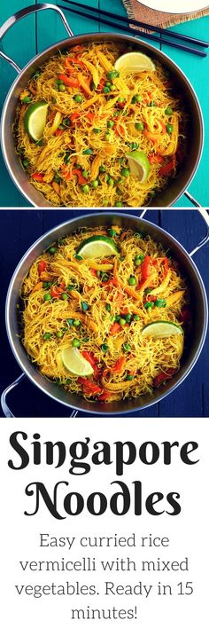 Singapore noodles are a great vegetarian/vegan lunch or dinner ready in an instant! Curried rice vermicelli noodles packed with a mix of veggies. (Mix Veggies And Rice) Veggie Recipes, Asian Recipes, Whole Food Recipes, Dinner Recipes, Cooking Recipes, Healthy Recipes, Vegetarian Rice Noodle Recipes, Rice Recipes, Recipies