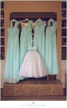 Aqua blue chiffon bridesmaid dresses. Chelsea + Daniel's wedding at Lenora's Legacy. Image credit: Michelle Brooks Photography.