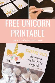 Have a little girl who loves everything unicorn? Add a little sparkle to your unicorn party with these free treat bag printable and other unicorn party ideas. Diy Unicorn Birthday Party, Unicorn Party Bags, Unicorn Party Invites, Unicorn Banner, Unicorn Birthday Parties, First Birthday Parties, Birthday Party Decorations, Party Invitations, First Birthdays