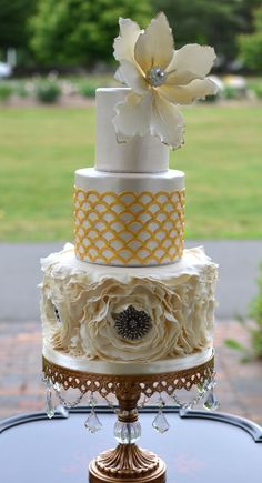 { Magnolia Wedding }   Chandelier Ball Base Cake Stand created by: Opulent Treasures ~   {set of three only $90}  http://www.opulenttreasures.com/shop/chandelier-ball-base-round-cakes-set-of-3