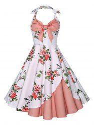 Vestido de impressão floral Halter
