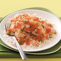 Zesty Mexican Chicken:  6 servings; 1 chicken breast half with 1/2 cup rice and 1/2 cup tomato mixture equals 256 calories, 3 g fat; Diabetic Exchanges: 3 lean meat, 1-1/2 starch, 1 vegetable