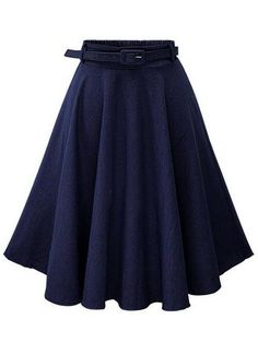 6624d8d46f ROMWE - ROMWE Navy Denim Flared Mid Skirt With Belt - AdoreWe.com Vestido  Tubinho