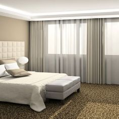 stylish simplistic chic bedroom decor - love the solid with shear drapery panels - full wall width.
