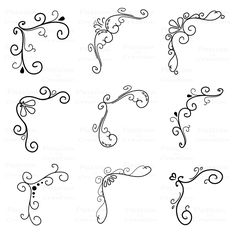 Corner Flourish Swirls, Border Calligraphy, Decorative Embellishment, Personal and Commercial Use by PassionPNGcreation on Etsy https://www.etsy.com/listing/179679566/corner-flourish-swirls-border