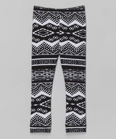 Another great find on #zulily! Black & White Tribal Leggings - Toddler & Girls #zulilyfinds